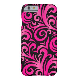 エレガントなVerderは|ピンクおよび黒い渦巻きます Barely There iPhone 6 ケース