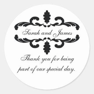 エレガント結婚式の好意のステッカーありがとう ラウンドシール