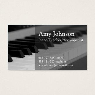 、エレガント、専門モダン、ピアノの教師 名刺