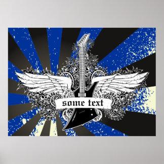 エレキギターおよび翼の白黒の青ポスター ポスター