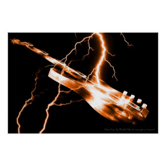 エレキギターのオレンジ ポスター