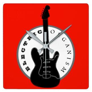 エレキギターのロック・ミュージックのカッコいいの黒の赤のモダン スクエア壁時計