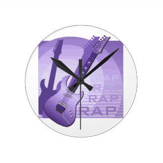 エレキギターの叩く音の単語音楽purple.png ラウンド壁時計