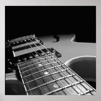 エレキギターの終わり-灰色B&W ポスター