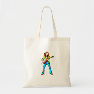 エレキギタープレーヤーの写実的なイメージの青のズボン トートバッグ