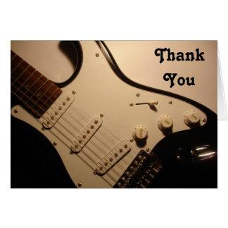 エレキギター、ノートありがとう カード