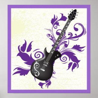 エレキギター、渦巻および抽象芸術の葉 ポスター