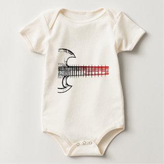 エレキギター(赤い青) ベビーボディスーツ