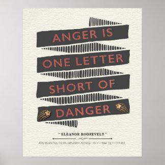 エレノア・ルーズベルト著怒りの引用文 ポスター