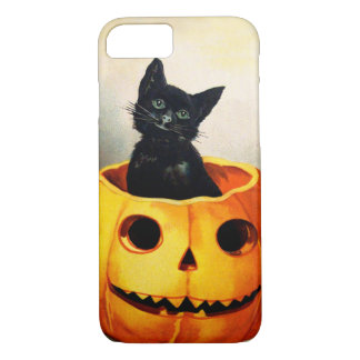 エレンH. Clapsaddle: ジャックO'Lanternの黒猫 iPhone 8/7ケース