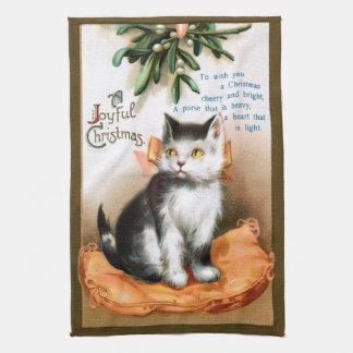 エレンH. Clapsaddle: ヤドリギの下の猫 キッチンタオル