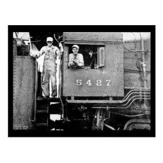 エンジン5427のヴィンテージのロコモーティブの列車エンジニア ポストカード