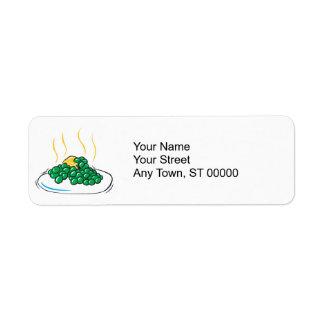 エンドウ豆およびバター 返信用宛名ラベル