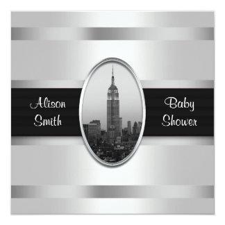 エンパイア・ステート・ビルディングのベビーシャワーの招待の白Gra カード