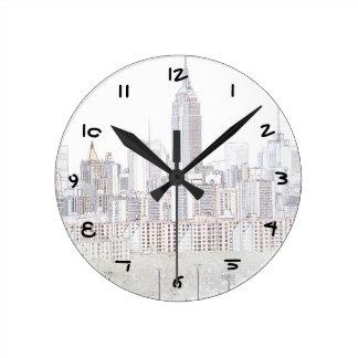 エンパイア・ステート・ビルディングラインスケッチ ラウンド壁時計