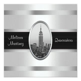 エンパイア・ステート・ビルディング白い銀製のキンセアニェラ 13.3 スクエアインビテーションカード