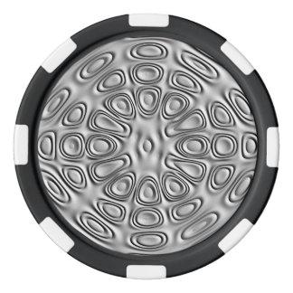 エンボスの一見の銀製灰色の金属の砂の花 ポーカーチップ