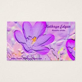 エンボスの紫色のクロッカスの作家の名刺 名刺