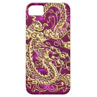 エンボスの金ゴールドのドラゴンのマゼンタのサテンのiPhoneの箱 iPhone SE/5/5s ケース