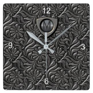 エンボスの金属の盾のモノグラムID139 スクエア壁時計
