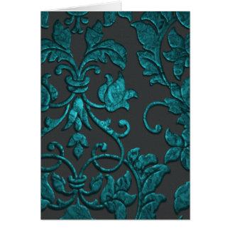 エンボスの金属ダマスク織、ティール(緑がかった色) カード