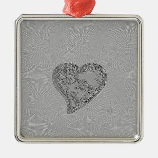 エンボスの銀製のしぶきのハート メタルオーナメント