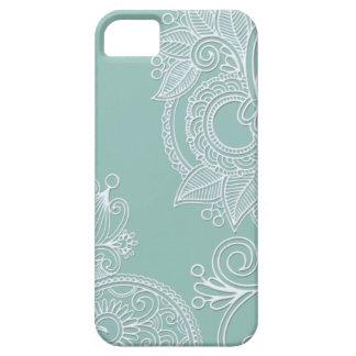エンボスのBohoのティール(緑がかった色)のペイズリー iPhone SE/5/5s ケース