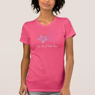 エースのピンクの星のリボンのジャージーのTシャツ Tシャツ