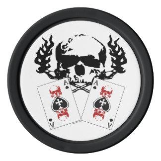 エースPokerchipsが付いているトランプのポーカーのスカル ポーカーチップセット