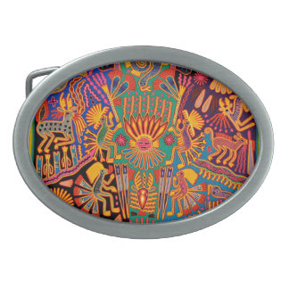 オアハカ州メキシコのメキシコマヤの種族の芸術のBoho旅行 卵形バックル