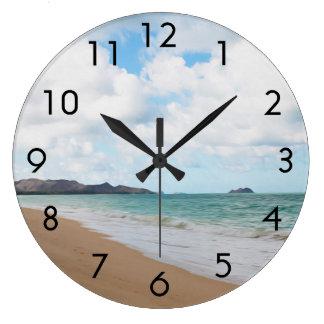 オアフハワイ海洋波及びビーチ ラージ壁時計