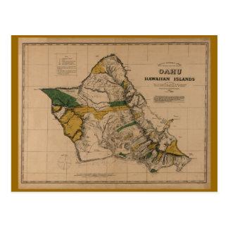 オアフ1881年のヴィンテージのハワイの地図 ポストカード