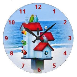 オウムおよびインコが付いている巣箱 ラージ壁時計