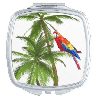 オウムおよびヤシの木パターンコンパクトの鏡