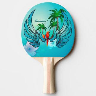 オウムおよび花との熱帯デザイン 卓球ラケット