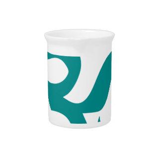 オウムかOmの記号(青緑色色、シンプル、ミニマルな) ピッチャー
