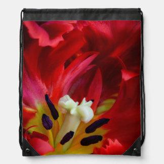 オウムのチューリップの花のインテリア ナップサック