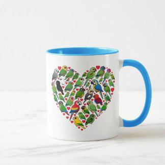 オウムのハート マグカップ