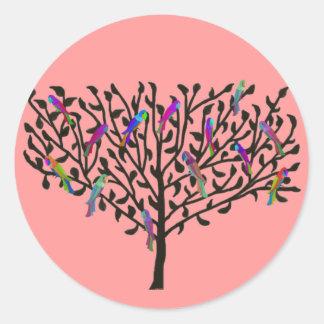 オウムの木のステッカー ラウンドシール