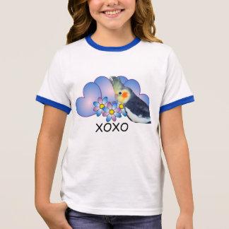オウムのCockatielが付いている女の子の信号器のTシャツ リンガーTシャツ
