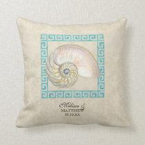 オウムガイの貝の水彩画のギリシャ人の鍵のダマスク織のビーチ