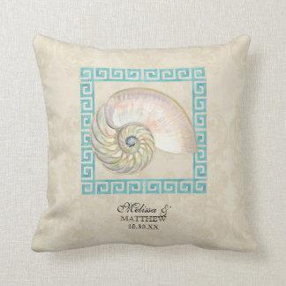 オウムガイの貝の水彩画のギリシャ人の鍵のダマスク織のビーチ クッション