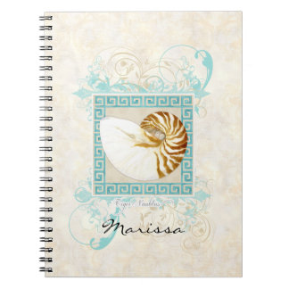 オウムガイの貝の水彩画のギリシャ人の鍵のダマスク織のビーチ ノートブック