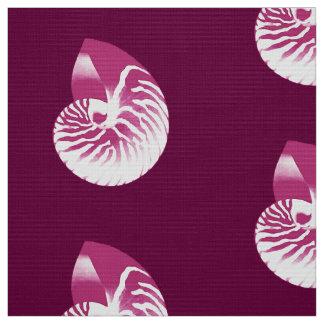 オウムガイの貝-ナスの紫色および白 ファブリック