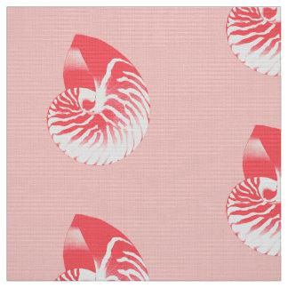 オウムガイの貝-珊瑚のピンクおよび白 ファブリック