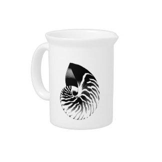 オウムガイの貝-黒、灰色および白 ピッチャー