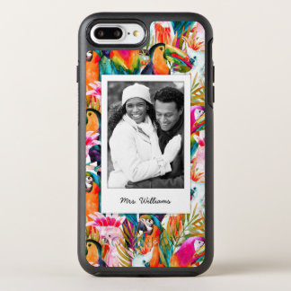 オウム及びシュロの葉は|あなたの写真を加えましたり及び示します オッターボックスシンメトリーiPhone 8 PLUS/7 PLUSケース