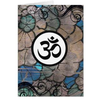 オウムOmのヒンズー教の信念の記号の青緑の渦巻 カード