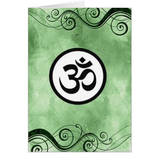 オウムOmのヒンズー教の神聖で健全な信念の緑の黒の渦巻 カード