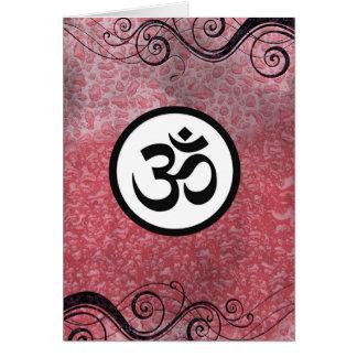 オウムOmのヒンズー教の神聖で健全な信念の記号のピンクの黒 カード
